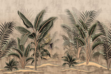Vintage Tropical Palm Trees Ba...