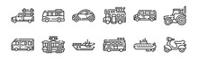 Set Of 12 Thin Outline Icons Such As Motorcycle, Van, Tram, Car, Car, Minibus For Web, Mobile
