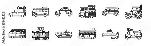 Slika na platnu set of 12 thin outline icons such as motorcycle, van, tram, car, car, minibus fo