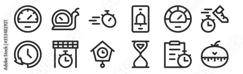 Photo set of 12 thin outline icons such as kitchen timer, sand clock, finish line, spe