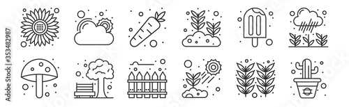 Fotomural set of 12 thin outline icons such as cactus, plant, park, ice cream, carrot, goo