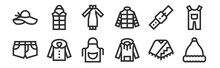 Set Of 12 Thin Outline Icons Such As Santa Claus, Hoodie, Coat, Belt, Chinese Dress, Waistcoat For Web, Mobile