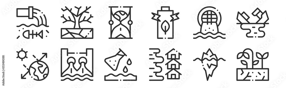 Fototapeta set of 12 thin outline icons such as drought, flood, hydro power, urban, hourglass, drought for web, mobile