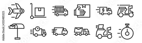 Fototapeta set of 12 thin outline icons such as on time, truck, truck, truck, package for web, mobile obraz