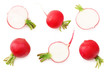 canvas print picture - fresh radish with slices isolated on white background. top view