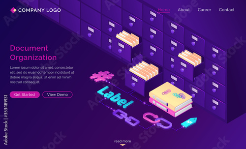 Work with documents organization isometric landing page, office cabinet with drawers, files, hashtags, folders, label, bidirectional links Fototapet