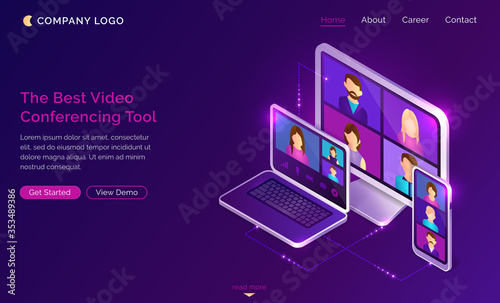 Leinwand Poster Video conference online call isometric landing page, colleagues business people