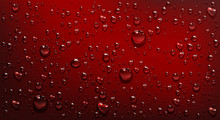 Water Droplets On Red Background. Vector Realistic Illustration Of Condensation Of Steam In Shower Or Fog On Wet Red Surface, Clear Aqua Drops From Dew Or Rain