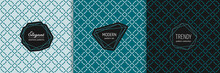 Vector Geometric Seamless Pattern Collection With Stylish Minimal Labels. Elegant Texture With Linear Grid, Diamond Shapes, Squares, Rhombuses. Art Deco Style. Trendy Teal Background. Luxury Design