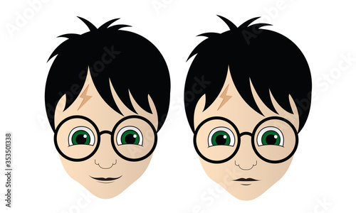 Cuadros en Lienzo Harry Potter Vector Illustration, Neutral and Smiling