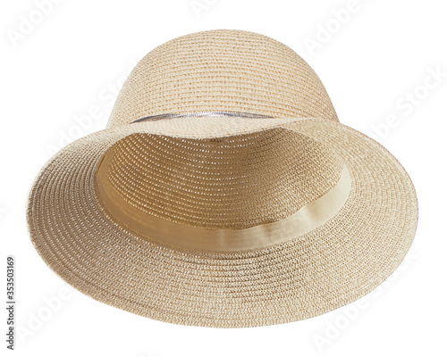 Vintage straw hat, isolated on white background Canvas Print