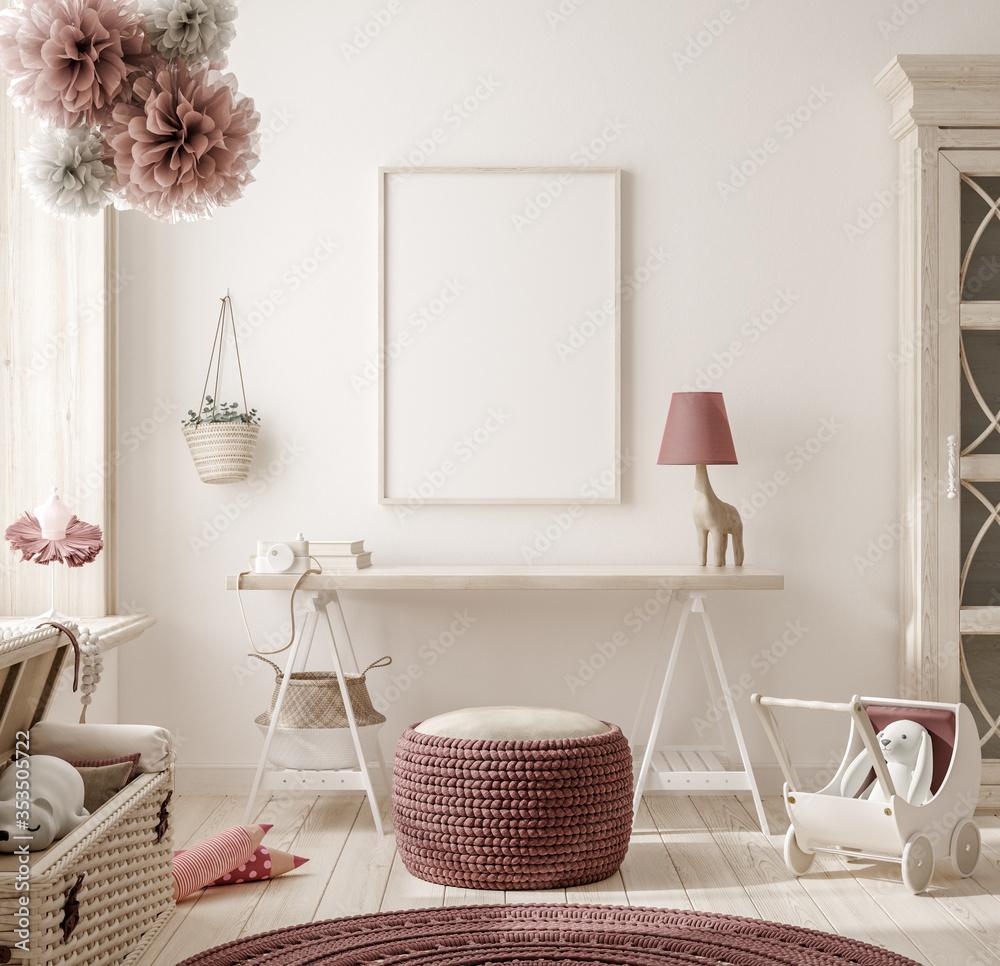 Fototapeta Mock up frame in warm colored girl bedroom, 3D render