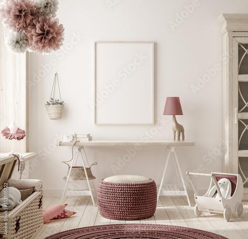 Fototapeta Mock up frame in warm colored girl bedroom, 3D render obraz