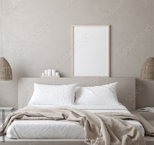 Obraz Mockup poster in Nomadic style bedroom interior, 3d render - fototapety do salonu