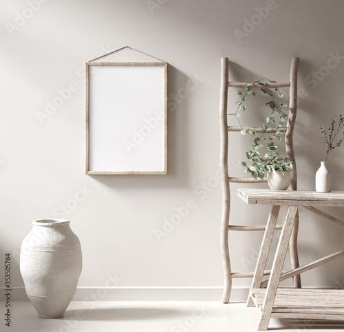 Mockup frame in Nomadic style interior background, 3d render Canvas-taulu