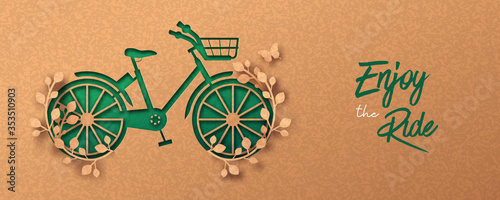 Green paper cut eco plant leaf bike concept Fotobehang
