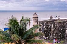 Sentry Box Garita And Palm Trees In Old San Juan, Puerto Rico.
