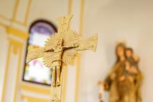 Detail Of A Golden Cross Insid...