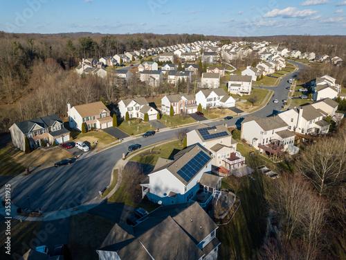 Low altitude aerial of the Gunpowder neighborhood in Joppa, Harford County, Maryland