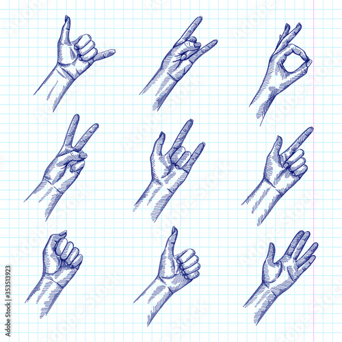 Hand-drawn sketch set of Hand Signs And Gestures фототапет