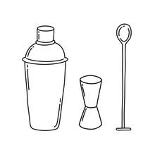 Bar Tools Doodle Icons, Vector...