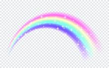 Rainbow With Sparkles Isolated...