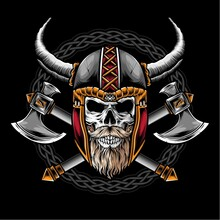 Skull With Viking Helmet Vecto...