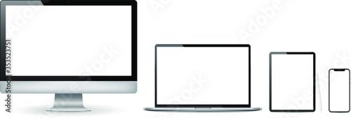 Fototapeta Realistic set of 2020 new design thin frame Computer monitor, laptop, tablet, smartphone - Eps 10 Vector template mock up. obraz