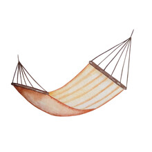 Watercolor Brown Leisure Hammock With Stripes