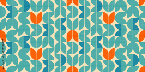 Papel de parede Mid century modern style seamless vector pattern with geometric floral shapes colored in orange, green turquoise and aqua blue