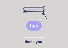 A Tips Jar, Empty Container Fo...