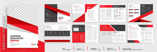 Fototapeta Red corporate business brochure template layout design, modern creative editable annual report template layout, multipage brochure template design. obraz