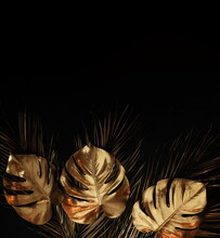 Gold Leaf Isolated On A Black Background  Top View. Gold Palm, Monstera Leaves , Plant Frame With Copy Space. Abstract Poster.