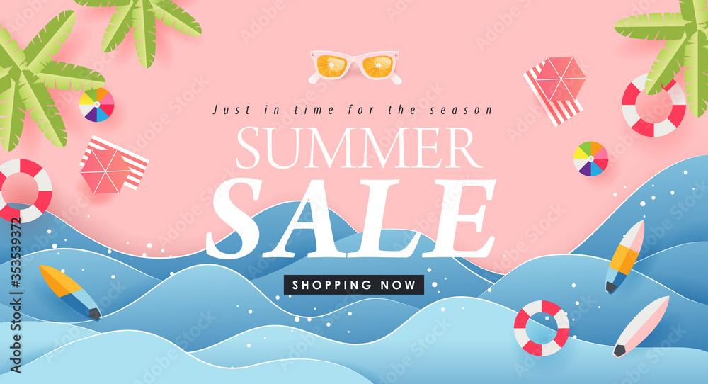 Fototapeta Summer sale design with paper cut tropical beach bright Color background layout banners .Paper art concept.voucher discount.Vector illustration template.