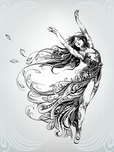Dance Of A Girl In A Floral Ornament