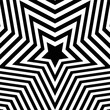 Abstract optical illusion background with a star. Black and white. Vector.