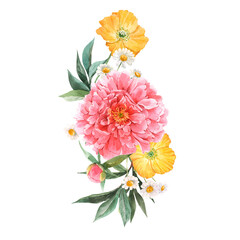 Fototapeta Kwiaty Beautiful floral bouquet composition with watercolor pink peony and yellow poppy flowers. Stock illustration