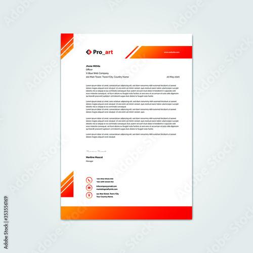 Fototapeta Modern Red Color Corporate Business Stationery letterhead template obraz