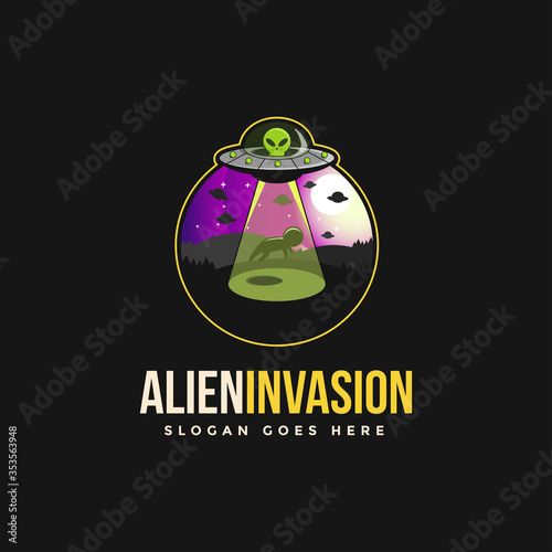 Alien invasion emblem logo vector фототапет