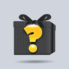 Mystery Gift Silhouette With Glowing Question Mark Vector Illustration