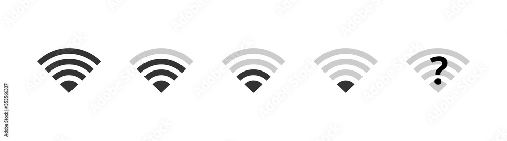 Fototapeta Wi-fi icons set. Wireless internet wifi signal level, wifi off, disconnected network. Communication symbols vector illustration for web, design, app, ui