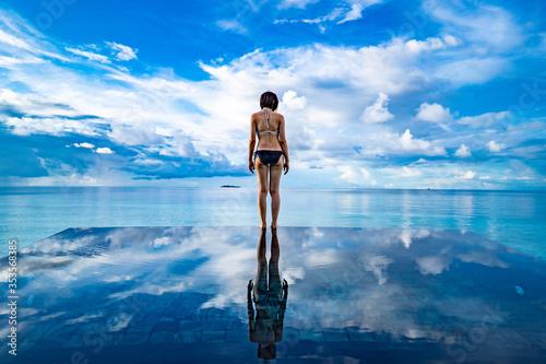 Tablou Canvas Maldives sky and sea ~モルディブの空と海~