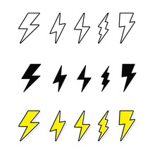 Electric Lighting Power Set, Bolt, Energy Charge, Thunder Draw. Thunderstorm Warning. Powerful Electricity. Thunder And Bolt Lighting Flash Icons Set. Vector Illustration On White Background. EPS 10