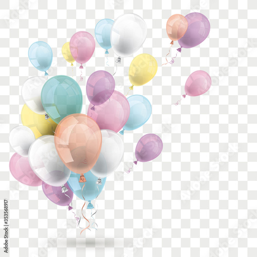 Tela Pastel Colored Balloons Transparent