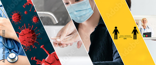 Obraz Coronavirus COVID-19 image set banner in concept of prevention information including safety precaution and doctor service to prevent spreading infection of covid-19 or 2019 Coronavirus Disease. - fototapety do salonu