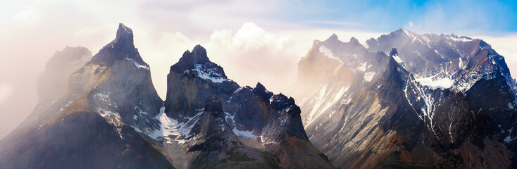 A panorama of Los Cuernos range in Torres del Paine national park, Patagonia, Chile.