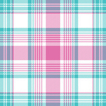 Baby Blue Pink Pastel Color Plaid Seamless Pattern. Vector Illustration.