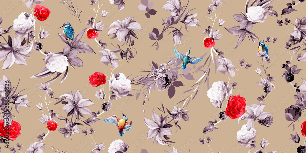 Wide seamless background floral pattern. Abstract flowers, rose, bird halcyon around on pastel color. Pattern for textile, fabric and other prints purpose. Abstract hand drawn artwork, vector - stock.