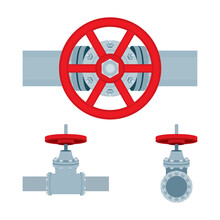 Valve On Pipe. Vector Illustrations Set Of Red Valves And Pipes.