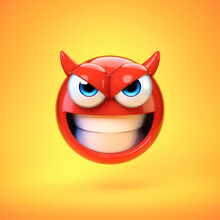 Devil Emoji Isolated On Yellow Background, Evil Emoticon 3d Rendering